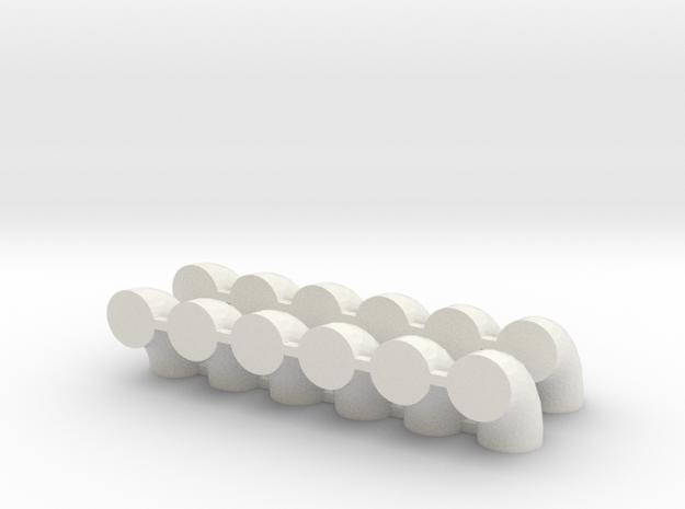 "'HO Scale' - (12) 24"" Diameter Elbows in White Natural Versatile Plastic"