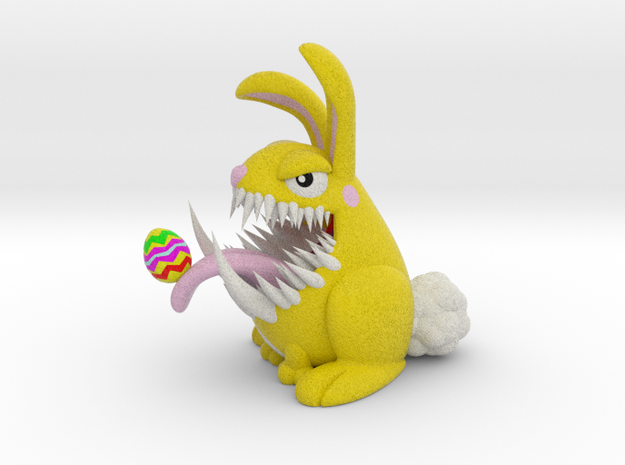 Monster Bunny with Easter Egg On Tongue in Full Color Sandstone