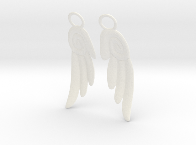 Chibi Wing Earrings in White Strong & Flexible Polished