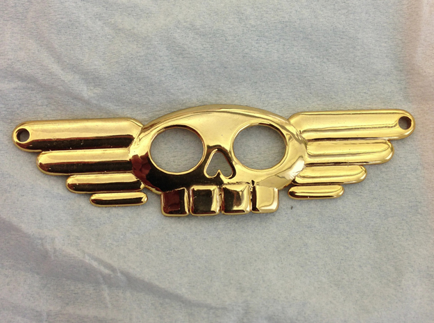 Winged Skull Sky Pirate Pendant 3d printed Polished brass!!!