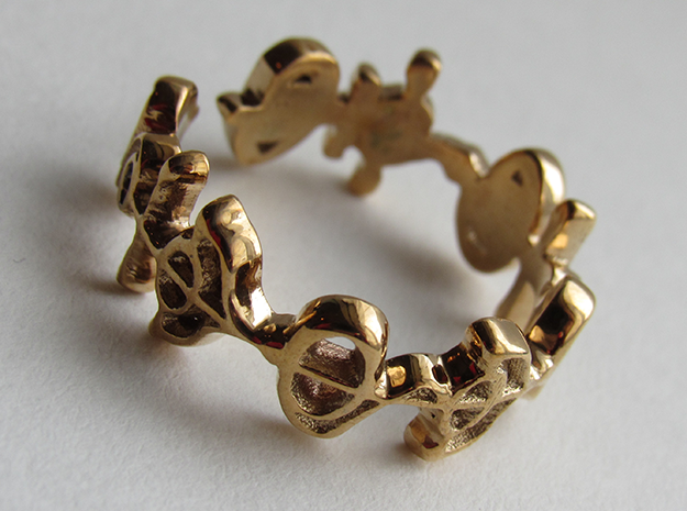 """Illogical"" Vulcan Script Ring - Cut Style in Polished Bronze: 7.5 / 55.5"