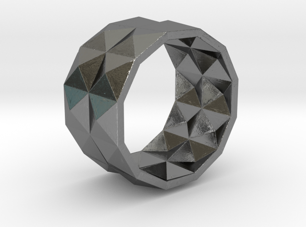 004 Stud Ring With Inside Pattern SIZE 10-11 in Polished Silver