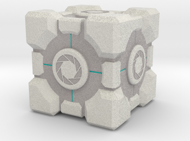 "Weighted Portal Cube (In Color) - Aperture 1"" in Full Color Sandstone"