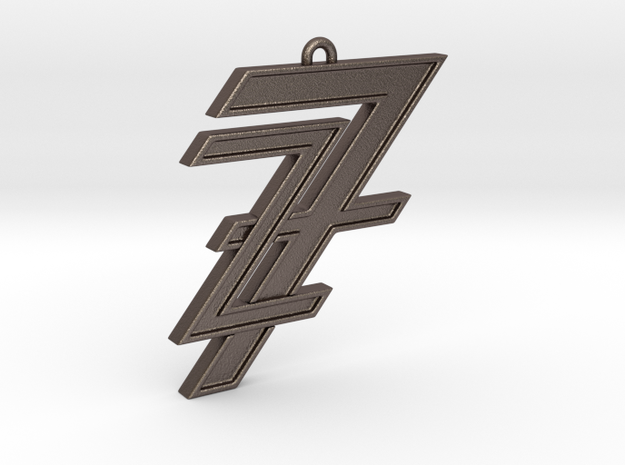 7&z pendant in Polished Bronzed Silver Steel