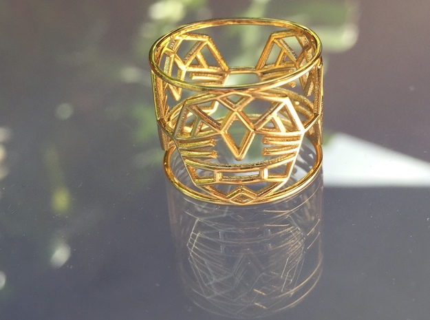 3 WARRIORS RING  - US 7 1/2 - EUR 56 1/2 in 14k Gold Plated Brass
