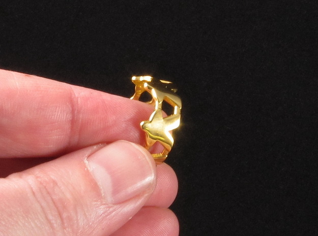 Meeple ring, several sizes in 18k Gold Plated Brass: 8 / 56.75