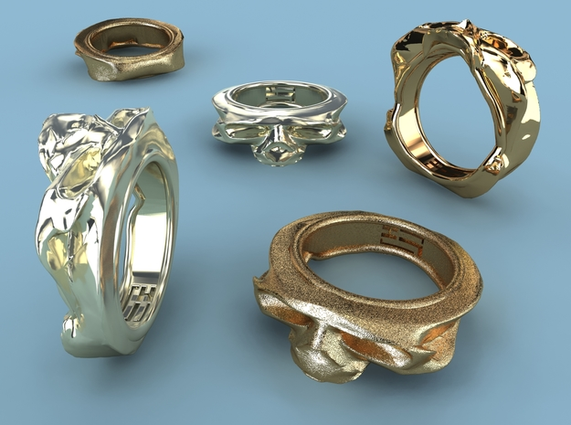 Splitted Skull ring 3d printed Premium Silver, Gold Plated Matte & Gold Plated Brass render
