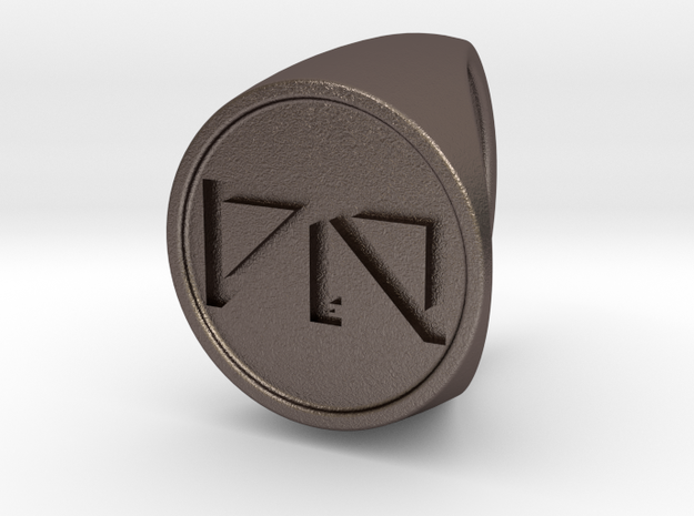 Custom Signet Ring 24 in Polished Bronzed Silver Steel