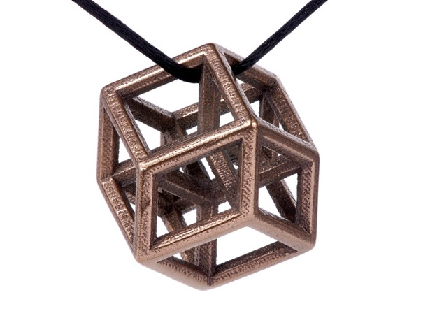Hypercube Pendant in Polished Bronze Steel