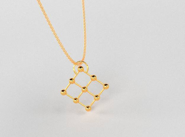 9 point pendant in 14k Gold Plated Brass