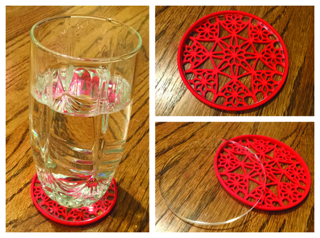 "3-1/4"" Coaster 4 (Insert) in Red Processed Versatile Plastic"