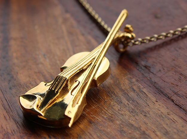 Violin and Bow Pendant in 18k Gold Plated Brass