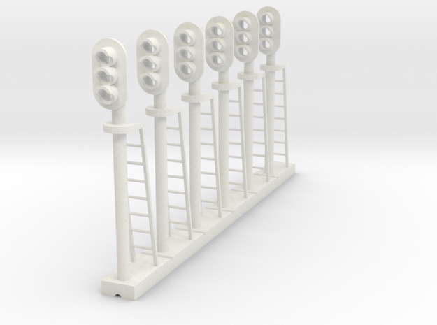 Block Signal 3 Light (Qty 6) - HO 87:1 Scale in White Natural Versatile Plastic