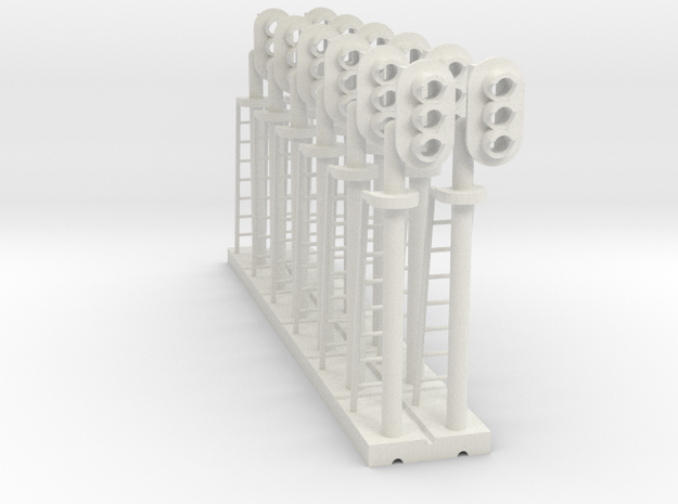 Block Signal 3 Light RH (Qty 12) - HO 87:1 Scale in White Natural Versatile Plastic
