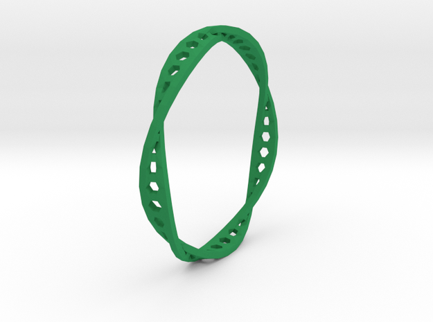 Twisted Hex Ring (Size 7) in Green Processed Versatile Plastic