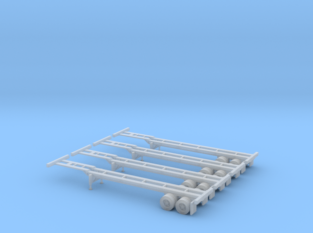 N 40' Container Chassis 4.Pack in Smoothest Fine Detail Plastic