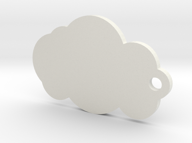 Cloud Keychain in White Strong & Flexible