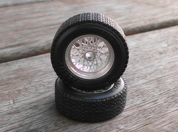 1/18 scale Burago E type Jaguar wheels 3d printed Painted wheels with original tyres