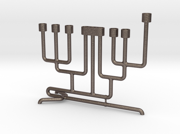 Pipe Menorah in Polished Bronzed Silver Steel