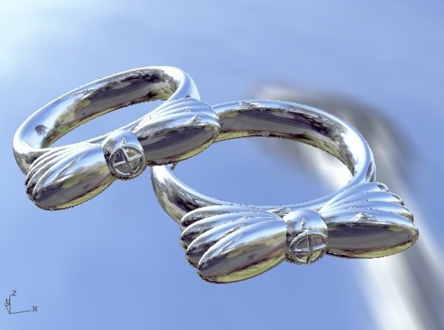 Wings In Motion, UK Size N ( US Size 6 ¾ )   in Fine Detail Polished Silver