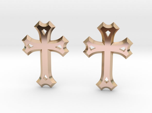 East Syriac Cross Earring Pair (25mm) in 14k Rose Gold Plated Brass