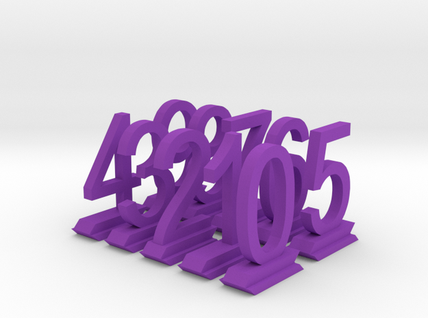 Table Number Digits 0-9 in Purple Processed Versatile Plastic