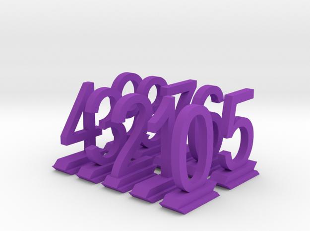 Table Number Digits 0-9 in Purple Processed Versatile Plastic