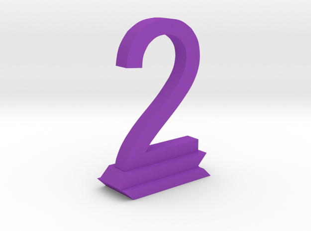 Table Number 2 in Purple Processed Versatile Plastic