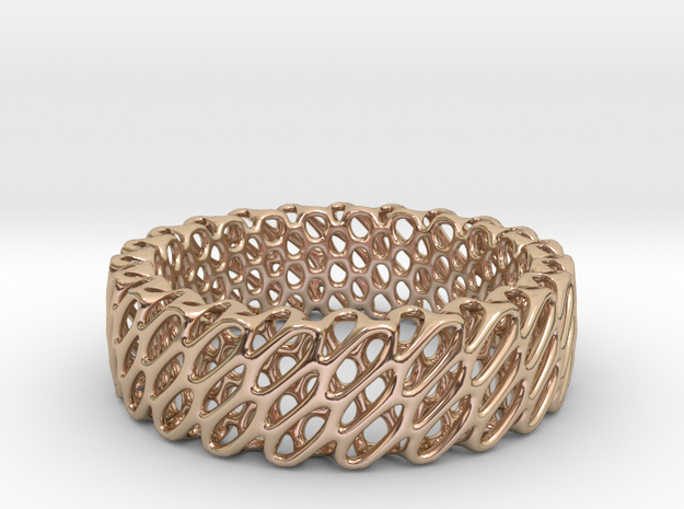 Diagrid S in 14k Rose Gold Plated Brass