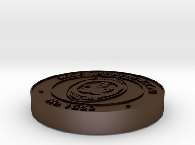 Masonic Coin - Lodge Irvine Newtown in Polished Bronze Steel