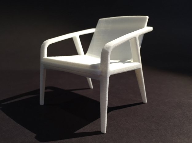 Pilot Lounge Chair 1-12 Scale in White Natural Versatile Plastic