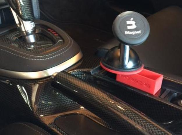 Porsche Ashtray Phone Mount Base in Red Strong & Flexible Polished