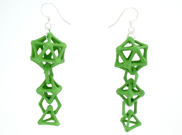 Platonic Progression Earrings - Bone in Green Processed Versatile Plastic