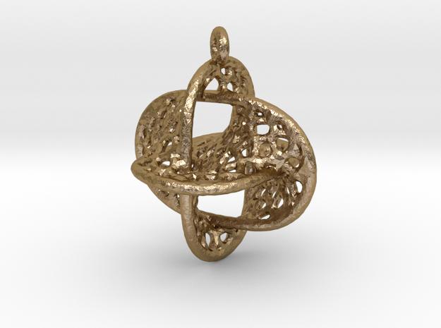Voronoi Borromean Pendant (Earrings) in Polished Gold Steel