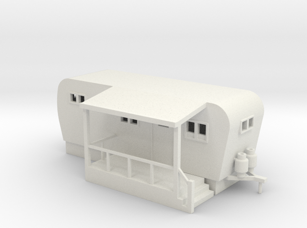 Trailer Mobile Home 20ft - HO 87:1 Scale in White Natural Versatile Plastic