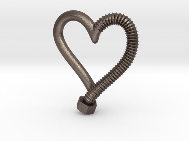 Heart-screw pendant in Stainless Steel