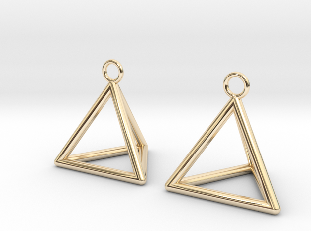 Pyramid triangle earrings in 14k Gold Plated Brass