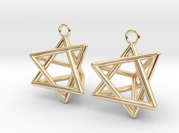 Pyramid triangle earrings type 8 in 14k Gold Plated Brass