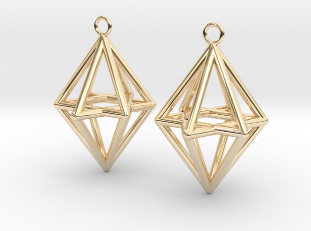 Pyramid triangle earrings type 14 in 14k Gold Plated Brass