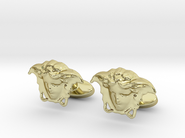 """Versace"" Head Cufflinks in 18k Gold Plated Brass"