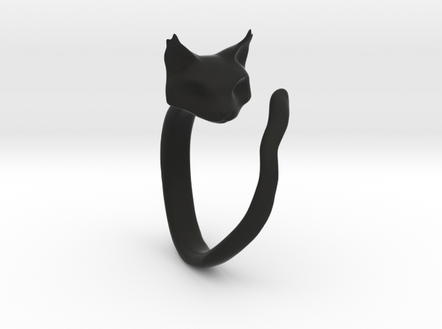 Cat Ring in Black Natural Versatile Plastic