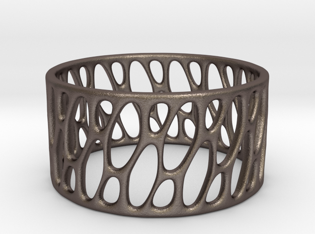 Framework Ring- Basic Intrincate Smooth in Polished Bronzed Silver Steel