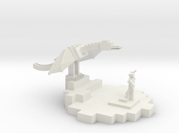 Minecraft Inspired Trophy in White Natural Versatile Plastic
