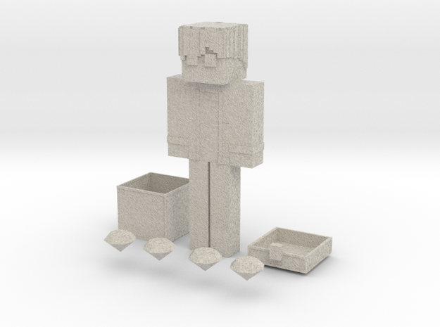 Minecraft Character With a Chest & Diamonds  in Sandstone