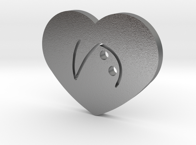 Moon-glyph-heart-hope in Natural Silver