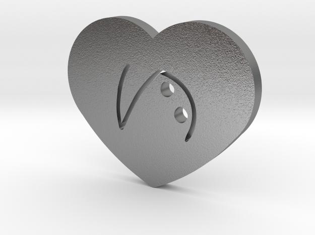 Moon-glyph-heart-hope in Raw Silver
