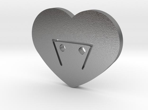 Moon-glyph-heart-earth in Raw Silver