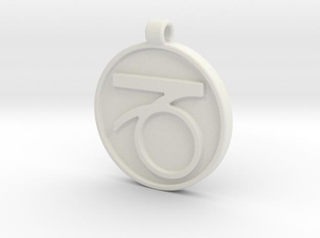 Zodiac KeyChain Medallion-CAPRICON in White Natural Versatile Plastic