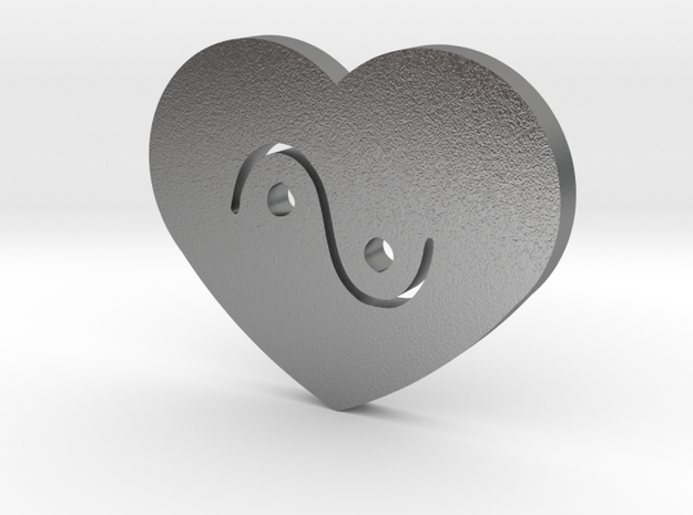 Moon-glyph-heart-water in Natural Silver