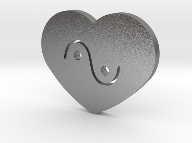 Moon-glyph-heart-water in Raw Silver